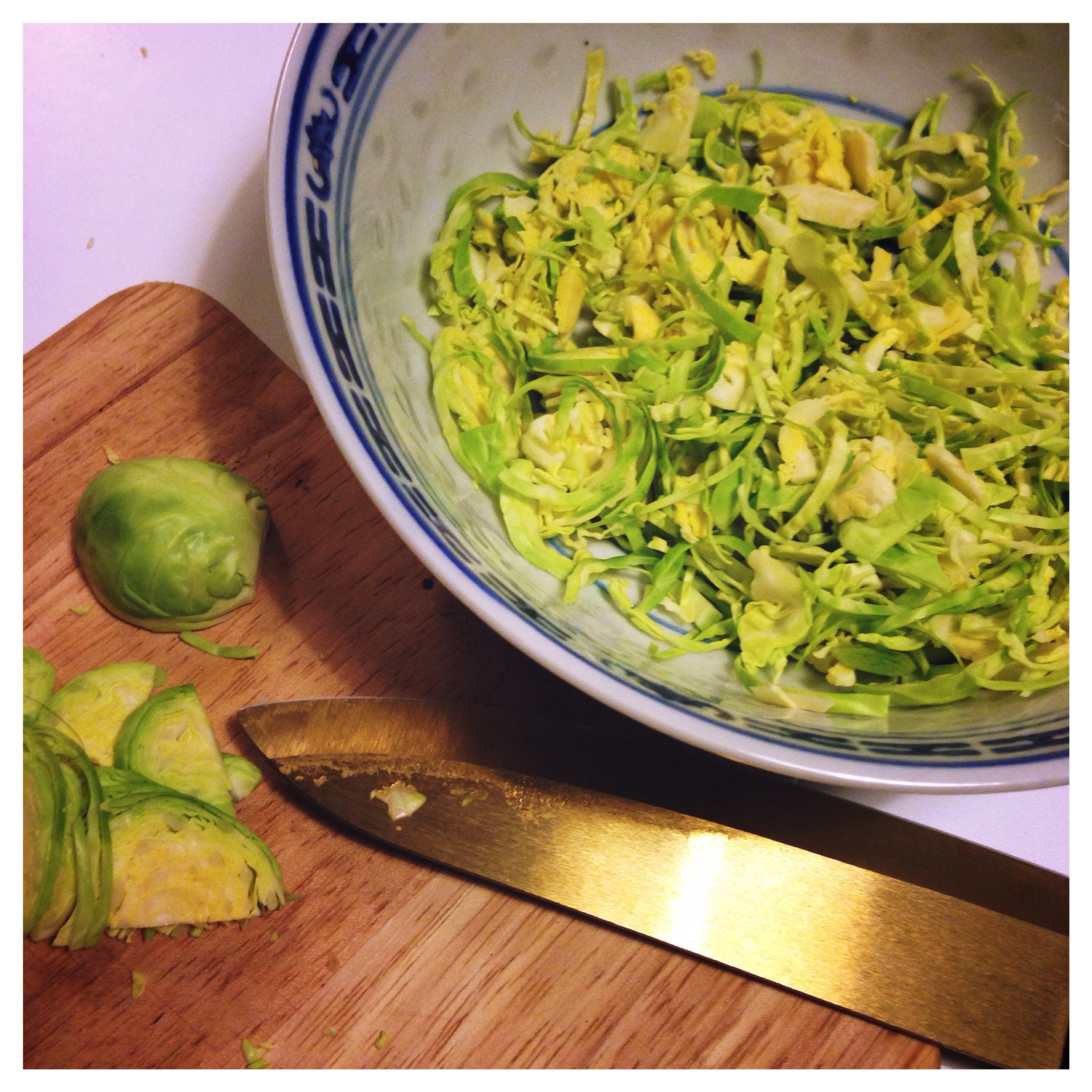 Thinly shred the Brussel sprouts and mix with mayo, vinegar and ...